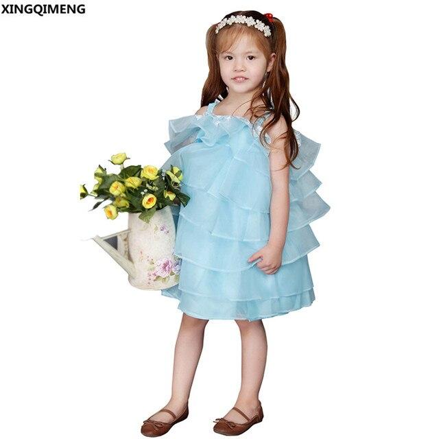 58ba9ef27236f Bleu clair Organza Fleur Fille Robes À Volants Ruches Première Sainte  Communion Robes Petites Dames Robe
