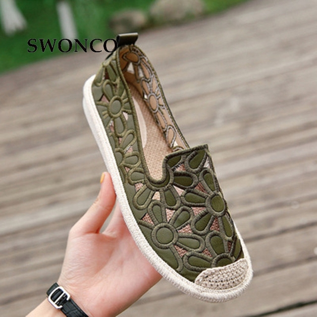 SWONCO Women's Flats 2018 Summer Weave Straw Ladies Loafers Shoes Women Flats Shoes Slip On Comfort Solid Woman Casual Shoe