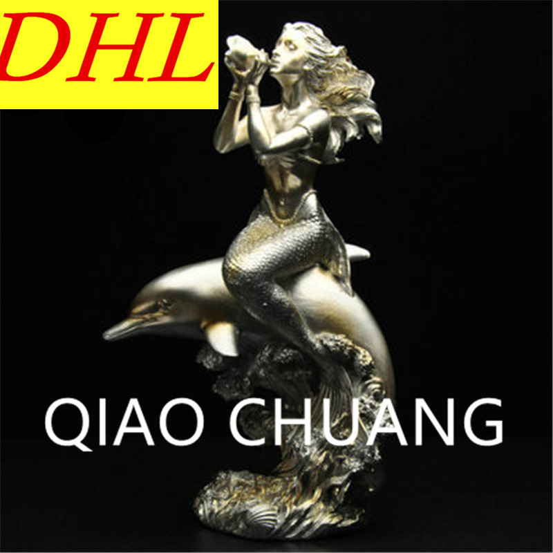 Gold Mermaid Simulation Figure Sculpture Study Decoration Creative European Style Colophony Crafts G1022 musician ludwig van beethoven western classical composer chill casting copper head sculpture colophony crafts decoration g1004