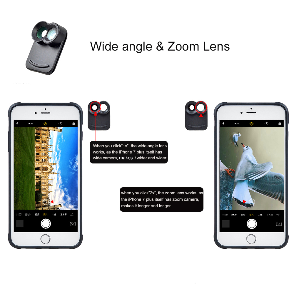 APEXEL Professional mobile phone lens just For iPhone 7 plus case fisheye iphone camera lens for mobile iphone 7 plus 4