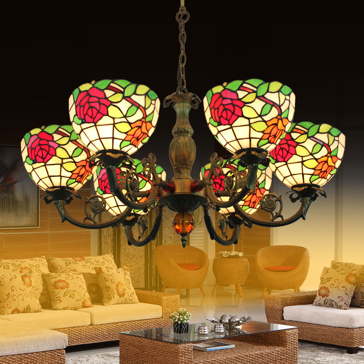 Tiffany rose Stained Glass Suspended Luminaire E27 110-240V Chain Pendant lights for Home Parlor Dining Room image