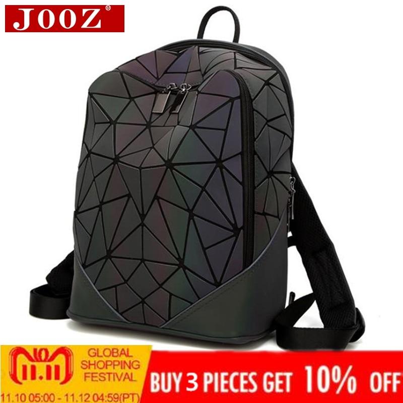 c907a54d4 Luminous backpack women leather geometric backpacks diamond lattice ...