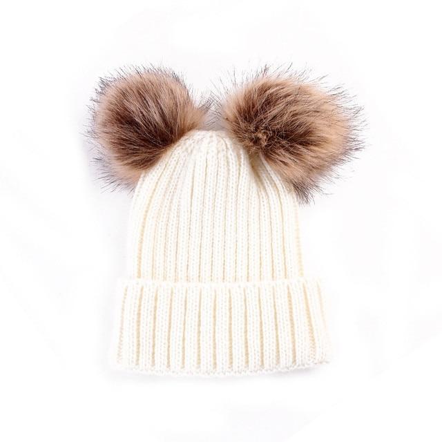 2017 Winter Autumn Baby Toddler Cute Hats Kids Boys Girls Knitted Fur Ball Caps Crochet Warm Hat Cap
