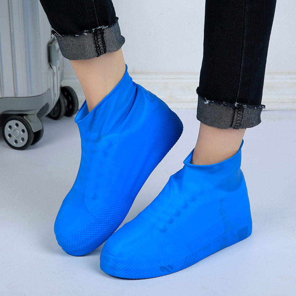 1 Pair Unisex Anti-Slip Reusable Rain Shoe Covers Latex Waterproof Rainproof Snowproof Woman Man Shoes Overshoes Boot