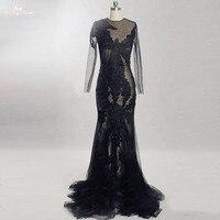 RSE861 Long SLeeves Mermaid Sheer Transparent Black Gown Dresses Tenu Sexy Porno