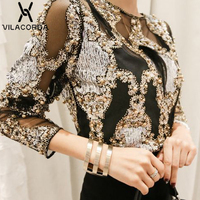 Chiffon Sequin Perspective Mesh Bottom Women Blouses And Tops Round Neck Long Sleeve Women's Shirt Sexy Top Blusas Chemise Femme