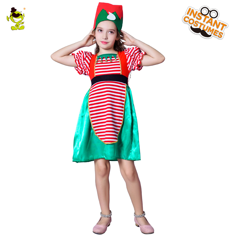 Kids Elf Costumes Girls Christmas Carnival Party fairy Role Play Suits Loveable With Hat Santa Claus for Halloween Party