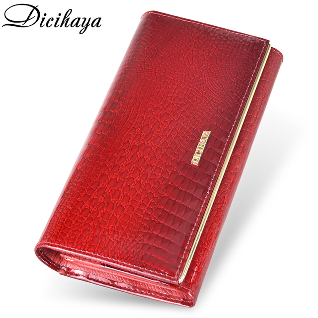 DICIHAYA Genuine Leather Women Wallets Multifunction Purse Red Card Holder Long Wallet Clutch Bag Ladies Patent Leather Purse