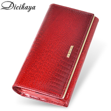 Dicihaya couro genuíno mulheres carteiras multifunction bolsa titular do cartão vermelho longo carteira bolsa de embreagem senhoras bolsa de couro patente