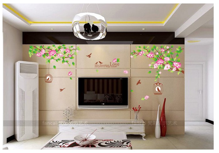 ... Romantic Flowers Tree Bird Cage Home Decoration Wall Stickers Designer  Mural Shelf Furniture Wall Decoration Interior ...