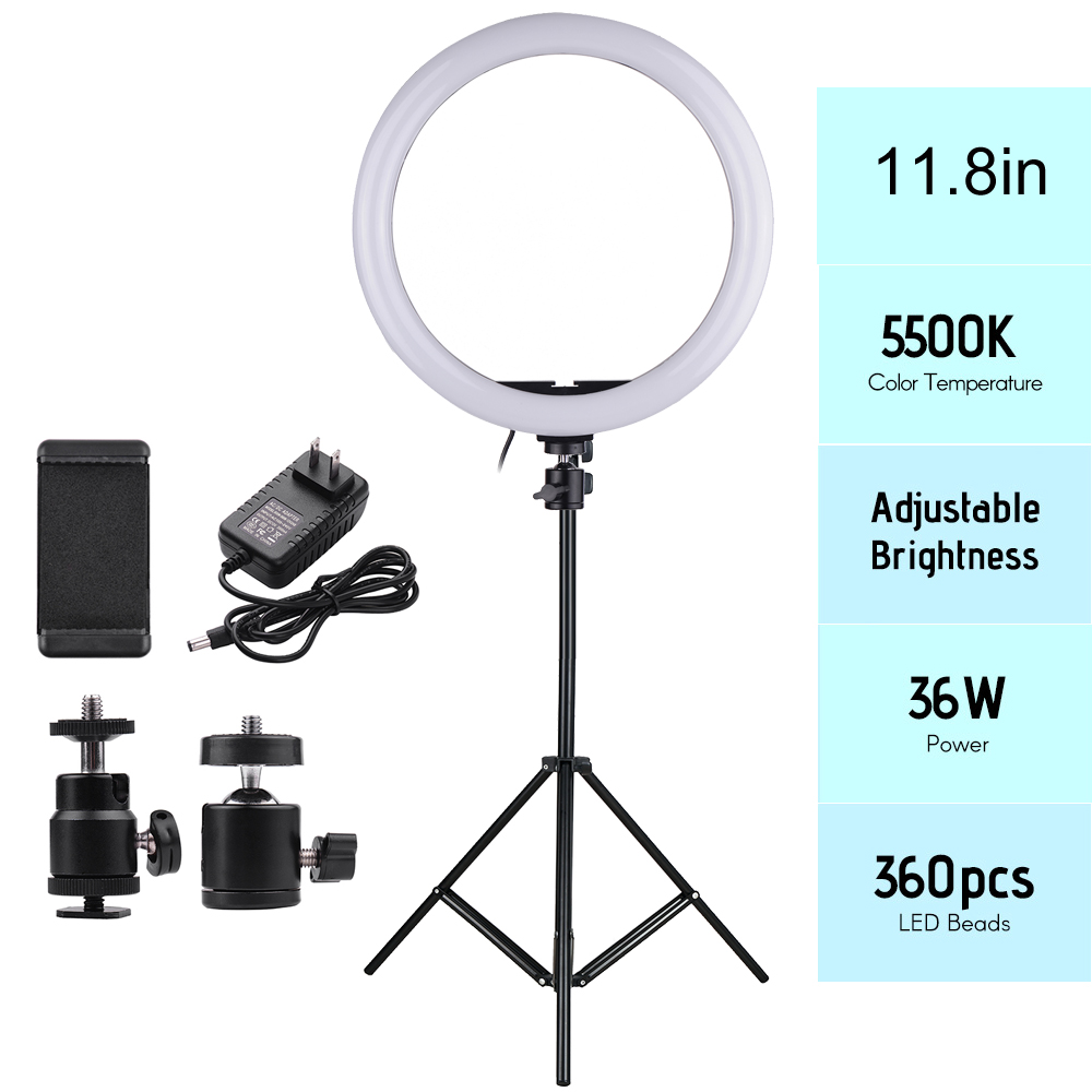 24W 11 8in 2700 5500K180pcs LED Video Ring Light Fill in Lamp Dimmable Phone Holder 2pcs