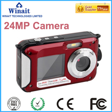 super quality HD 24MP Camera digital with dual display waterproof camera and extra battery free shipping