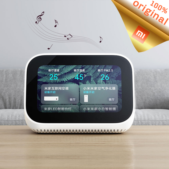 Оригинальный динамик Xiaomi AI с сенсорным экраном, Bluetooth 5,0, 3,97 дюймов, цифровой дисплей, будильник, Wi Fi, умное соединение, Mi динамик