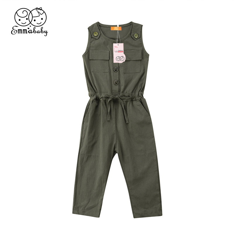 New 2-6Y Autumn Baby Boys Girls Clothes Pocket baby   Rompers   Overalls Jumpsuits Kids Green Color Bib Harem Pants Children Clothes