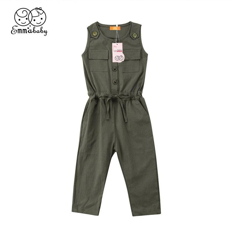 Nuevo 2-6Y otoño bebé Niños Niñas Ropa bolsillo bebé monos niños Color verde babero pantalones Harem ropa para niños