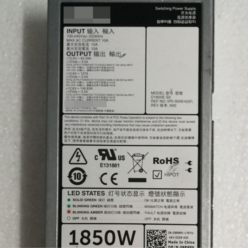 Pour DELL serveur alimentation 1850 W 09R9PK D1850E-S0 DPS-1850AB A