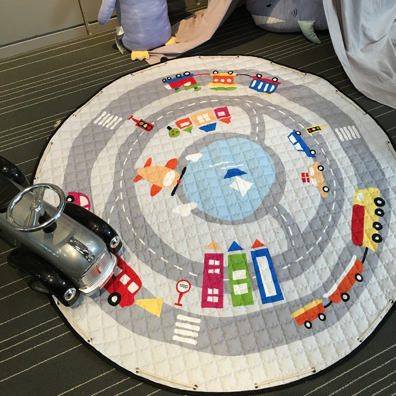 Multifunctional Round Play Rug Mat Funny Cars Fox Pattern