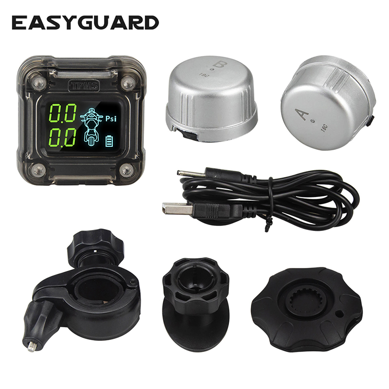 EASYGUARD motorcycle tire pressure monitoring system wireless external TPMS sensor LCD display 0 3.5 Bar PSI easy installation