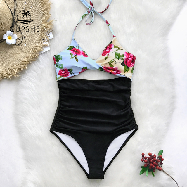 705fb7debb499 CUPSHE Floral Print And Black Twist Halter One-Piece Swimsuit Women Cutout  Ruched Monokini Swimwear