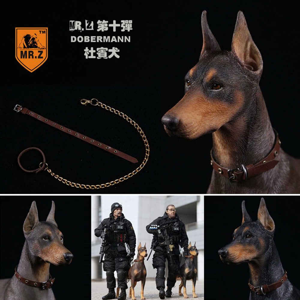 1/6 Acessórios De Cena Solider Figura Collectible Mr. Z Animal Real 10th DB001-DB003 Alemã Doberman Modelo Estátua para 12 ''Figura