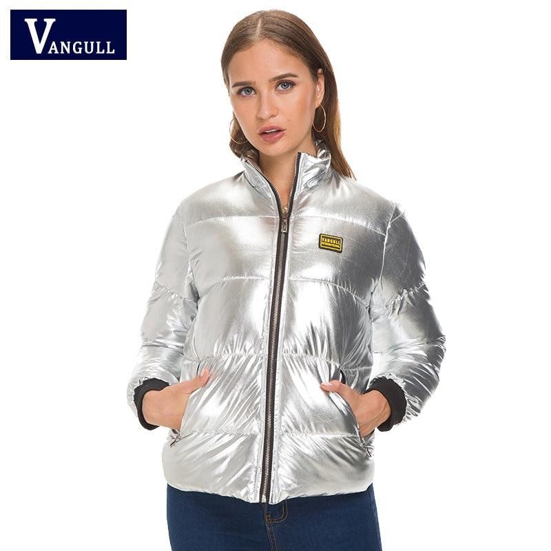 Femmes Métal Vangull Dames Manteau Mode Chaud Argent Vestes D'hiver Nouveau Épais Style 2018 Parka De Femme Manteaux Couleur Court r0x71E0q