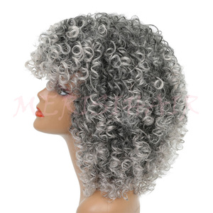 Image 4 - MERISI HAIR Short Curly Brown Blonde Gray Color Wigs For Black Women High Temperature Synthetic Hair