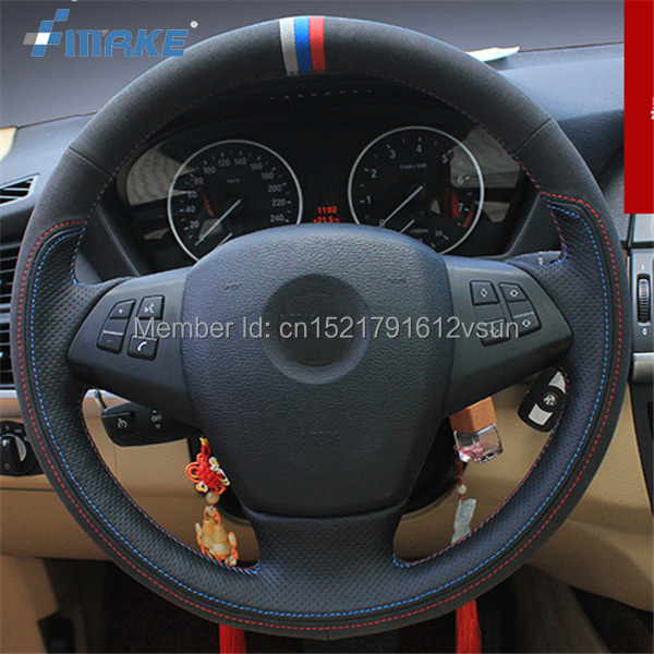 For BMW X5 High Quality Hand-stitched Anti-Slip Black Leather Black Suede Blue Red Thread DIY Steering Wheel Cover