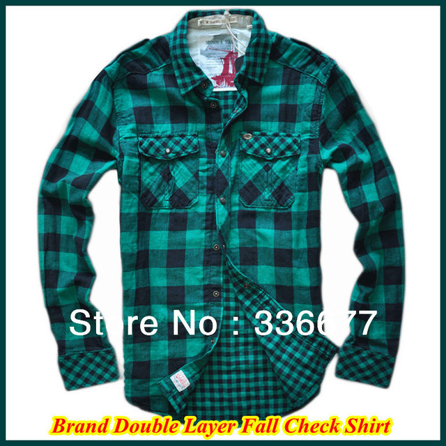 80a5f6f5b23 Brand High Quality Mens Double Layer Snap Buttoned Cotton Spring/Autumn/Winter  Check Shirts QR-4938