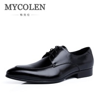 MYCOLEN Mens Leather Footwear 2018 Casual UK Fashion Vintage Lace Up Shoes Men Wedding Party Derby