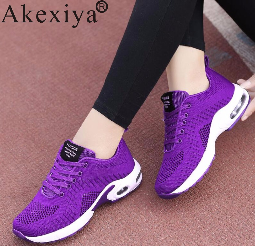 Akexiya Knitted Fabric Women Sneakers Basket Femme Breathable Free Run Ladies Red Sport Flying Shoes Woman Black Running Shoes