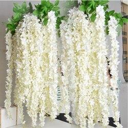 Atacado 10 pçs rattan strip wisteria artificial flor videira para festa de casamento em casa crianças decoração do quarto diy artesanato falso flores
