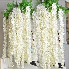 Großhandel 10 stücke Rattan Streifen Glyzinien Künstliche Blume Reben Für Hochzeit Home Party Kinder Zimmer Dekoration DIY Handwerk Gefälschte Blumen