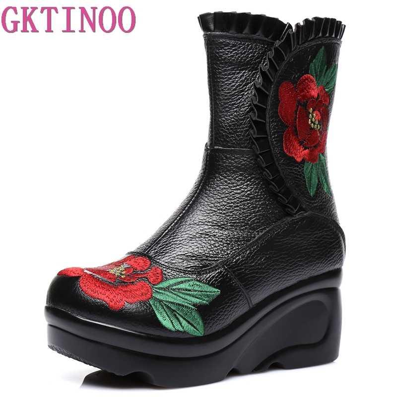 GKTINOO Işlemeli Moda Kadınlar Kış Hakiki Deri Çizmeler El Yapımı Vintage kayma Önleyici Bot Takozlar Ayakkabı Kadın