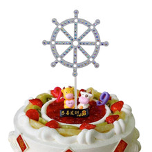 Creative Shiny Crystal Cake Toppers Happy Birthday Gold Silver Paper Board Flag Party Decoration Supplies