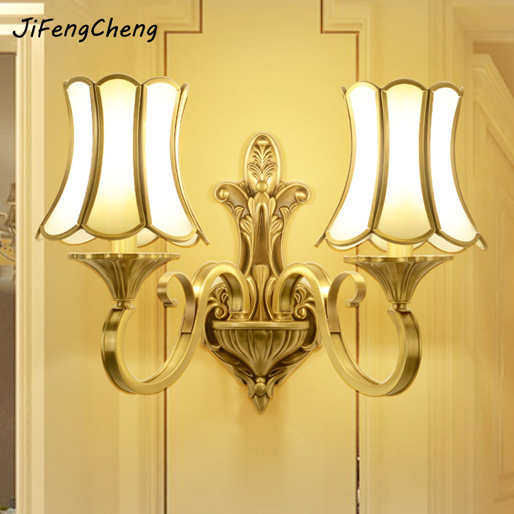 JIFENGCHENG European Full Copper Wall Lamp E27 Living Room Background Wall Lamp E14 Bedroom Bedside Lamp Corridor Copper Lamp