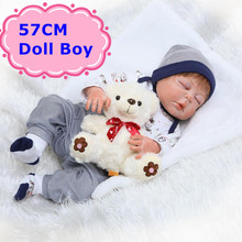 57CM NPK Bebe Reborn Full Silicone Doll Realistic Sleeping Baby Boy With Soft 22 Doll Clothes