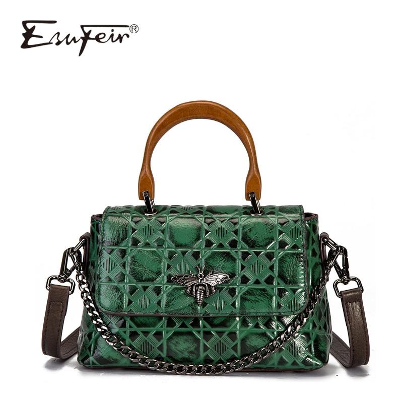 ESUFEIR Brand 2018 New Arrival Vintage Genuine Leather Women Handbag Luxury Design Bee Chains Embossed Plaid Women Crossbody Bag