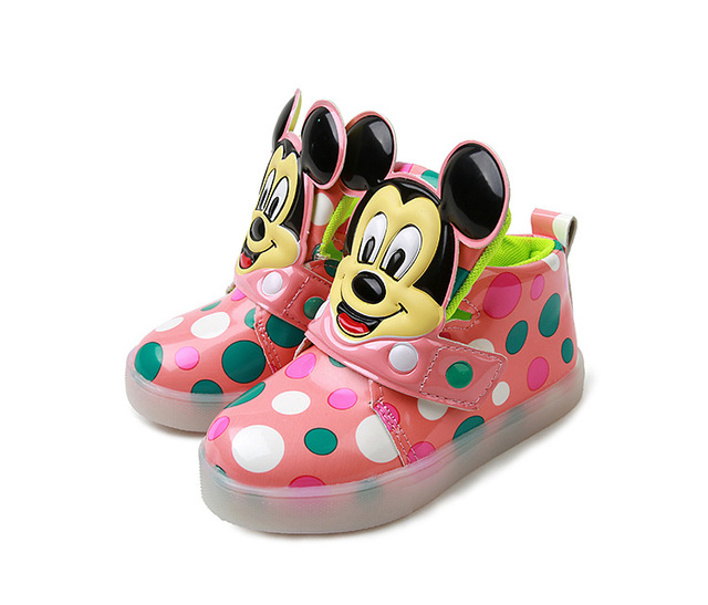 2017 spring new model Kids sneakers LED children light sports shoes boy flashing girls fashion flats Colored dots baby shoes