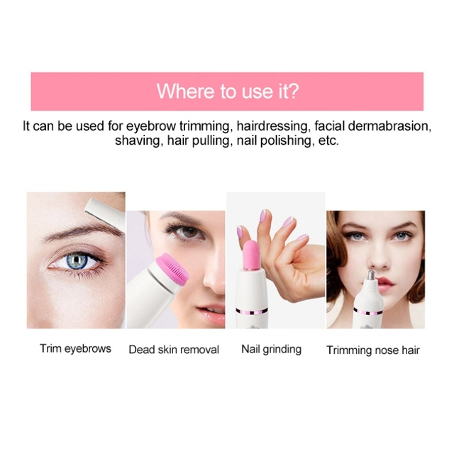 7 In 1 Nose Hair Beard Eyebrow Rechargeable Women Electric Trimmer Hair Remover Device Lady Epilator Skin Care Tool 4