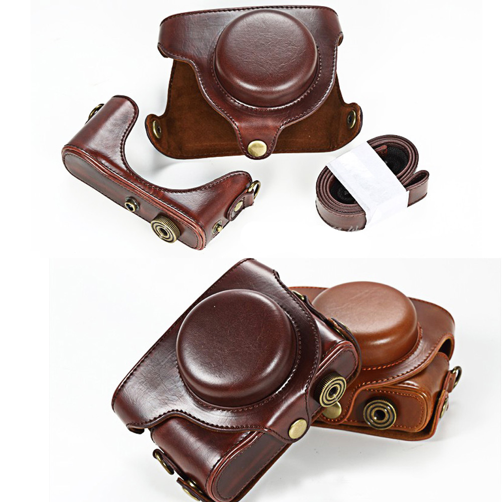 High Quality Leather Camera Bag Case Cover for <font><b>Panasonic</b></font> <font><b>LUMIX</b></font> <font><b>LX100</b></font> DMC-<font><b>LX100</b></font> Camera image
