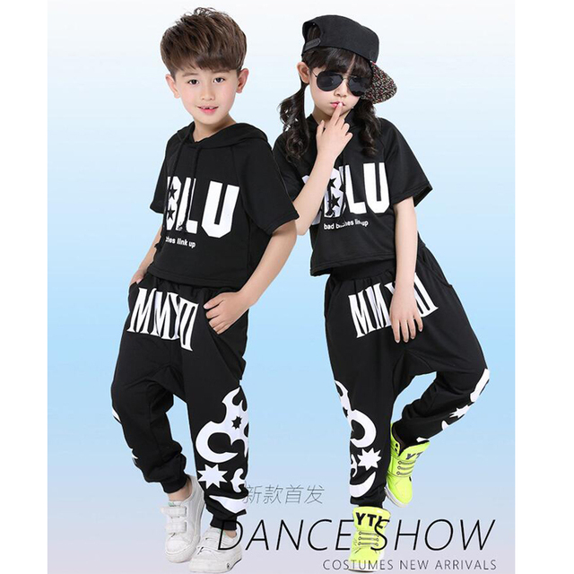 91067b9f3 Boys Modern Jazz dancewear costume Tops+Pants Stage Wear Kids Black ...