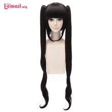 L-email wig Brand New Sword Oratoria Hestia Kami Sama Cosplay Wigs 100cm Black Loose Wavy Synthetic Hair Perucas Cosplay Wig