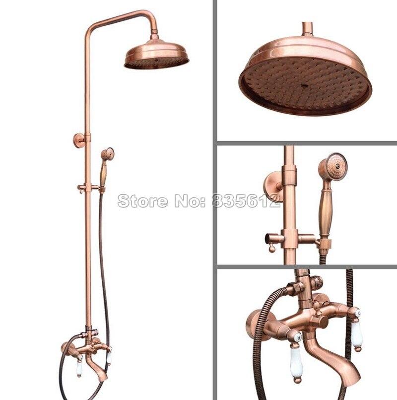 Bad Antiken Rot Kupfer Regen Dusche Wasserhahn Set Handheld Dusche