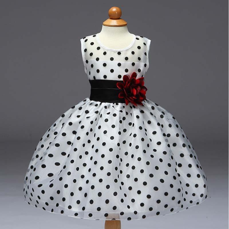 2017 New Polka Dot Dress for Girls Exquisite Flower Belt and Fashion Big Bow Elegant White Princess Dresses for Party 3-8 Years new v neck princess girl polka dot dress bow belt pattern fashion pageant party kids clothing dot vestido girl 8 years baptism