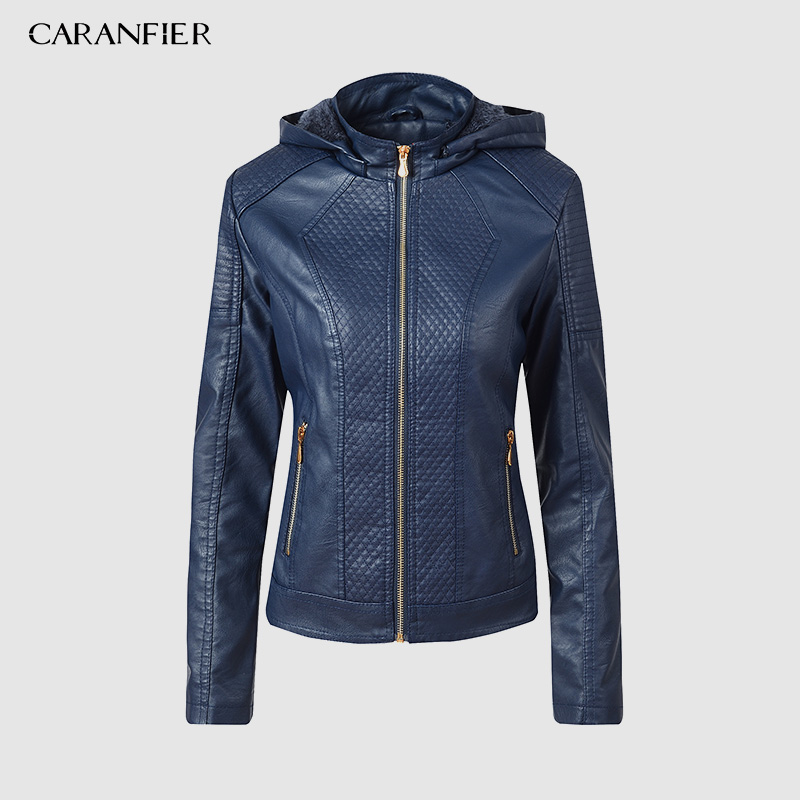 CARANFIER 2019 Winter Faux   Leather   Jacket Women Hoodies Winter Autumn Motorcycle Jacket Brand Plus Velvet Faux   Leather   Jackets