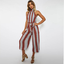 New fashion personality temperament casual hanging neck belt sexy decorative stripe ladies straight jumpsuit