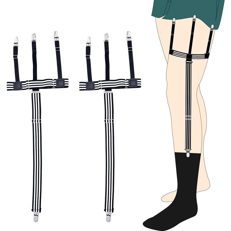 New Man's Garters Shirt Stays Skirt Holder Gentleman's Duck Clips Shirt Braces Elastic Uniform Strap Shirt Garters Black Striped