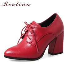 Купить с кэшбэком Meotina Shoes Women Pumps High Heels Pointed Toe Lace Up Ladies Shoes Spring Thick High Heel Dress Shoes Red Black Plus Size 43