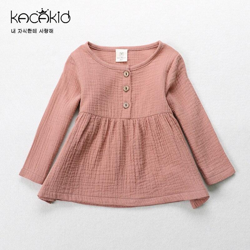 Kacakid Spring Cute Baby Girls Tees Shirt Kids Cotton T-shirt Children Long Sleeve Tops Sweatshirts