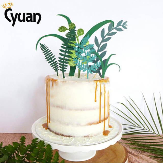 Cyuan Flash Powder Green Leaf Plant Cake Topper Personalized Kids 18th Birthday Party Decoration Supplies